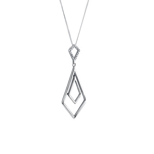 Geometric Pendant with 1/20 Carat TW of Diamonds in Sterling Silver