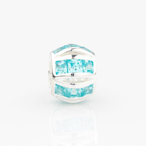 Online Exclusive - Round Stripe Charm with Aqua Cubic Zirconia in Sterling Silver