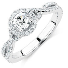 Michael Hill Designer Adagio Engagement Ring with 1 Carat TW of Diamonds in 14kt White Gold