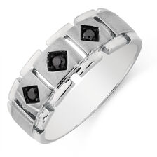 Online Exclusive - Men's Ring with 0.16 Carat TW of Enhanced Black Diamonds in 10ct White Gold