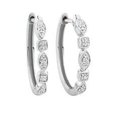 Huggie Earrings with Diamonds in Sterling Silver