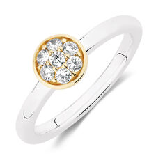 Stacker Ring with Cubic Zirconia in Sterling Silver & 10ct Yellow Gold