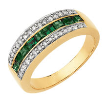 Online Exclusive - Ring with Created Emeralds & Diamonds in 10ct Yellow & White Gold