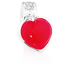 Red Agate, Cubic Zironcia & Sterling Silver Heart Dangle Charm