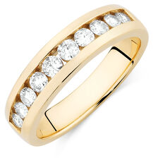 Men's Wedding Band with 1 Carat TW of Diamonds in 10ct Yellow Gold