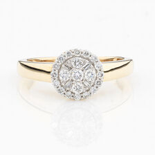 ONLINE EXCLUSIVE - Cluster Ring with 0.38 Carat Total Weight of Diamonds in 10ct Yellow & White Gold