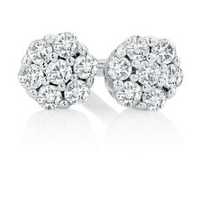 Cluster Stud Earrings with Diamonds in Sterling Silver