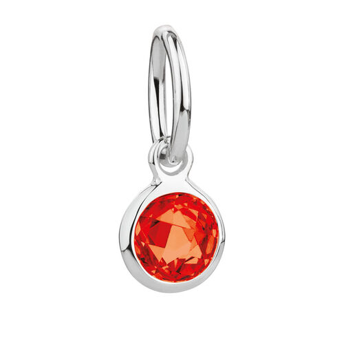 January Mini Pendant with Red Cubic Zirconia in Sterling Silver