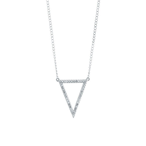 Geometric Triangle Necklace with 1/15 Carat TW of Diamonds in Sterling Silver