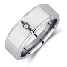 Men's Ring with an Enhanced Grey Diamond in Grey Tungsten
