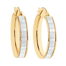 Glitter Hoop Earrings in 10kt Yellow Gold