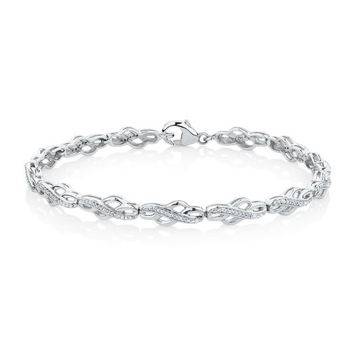 Twist Link Bracelet with 0.15 Carat TW of Diamonds in Sterling Silver