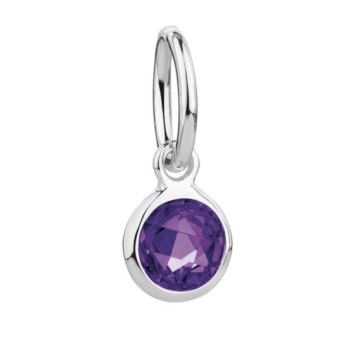 February Mini Pendant with Purple Cubic Zirconia in Sterling Silver
