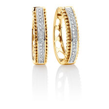 Huggie Earrings with Diamonds in 10ct Yellow Gold