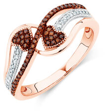 Online Exclusive - Ring with 1/5 Carat TW White & Enhanced Brown Diamonds in 10ct Rose Gold