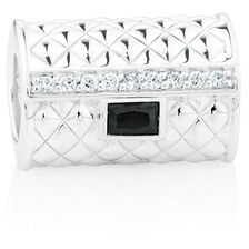 Black & White Cubic Zirconia & Sterling Silver Clutch Purse Charm