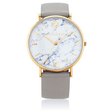 Gold Tone Stainless Steel Watch with Grey Leather