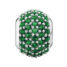 Dark Green Cubic Zirconia & Sterling Silver Pave Charm