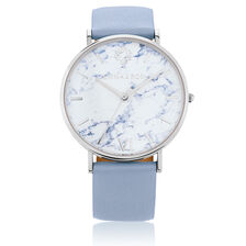 Stainless Steel Watch with Light Blue Leather