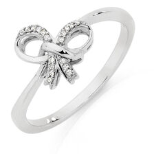 Bow Ring with Diamonds in 10kt White Gold