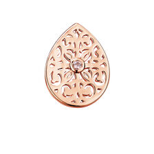 Filigree Mini Coin Pendant Insert with Pink Crystal in 10ct Rose Gold