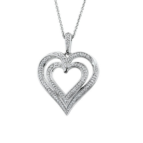 Double Heart Pendant with 1/6 Carat TW of Diamonds in Sterling Silver