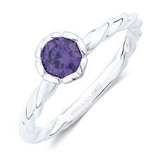 February Stacker Ring with Purple Cubic Zirconia in Sterling Silver
