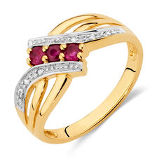 Ring with Ruby & Diamonds in 10ct Yellow Gold