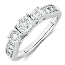Three Stone Engagement Ring with 1/2 Carat TW of Diamonds in 14kt White Gold