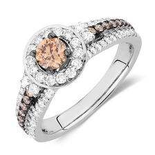 Engagement Ring with 1 Carat TW of White & Brown Diamonds in 14kt White Gold