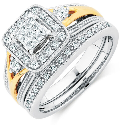 Bridal Set with 0.40 Carat TW of Diamonds in 10ct Yellow & White Gold