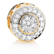 Diamond Set & 10kt Yellow Gold Circle Charm