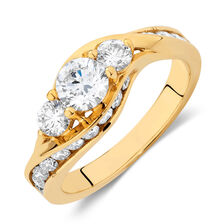 Engagement Ring with 1 1/2 Carat TW of Diamonds in 14ct Yellow Gold