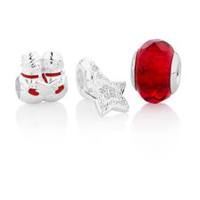Three Piece Christmas Boxed Set with Glass, Cubic Zirconia, Enamel in Sterling Silver