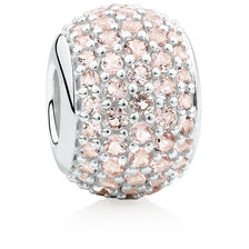 Pave Set Charm with Pink Crystal in Sterling Silver