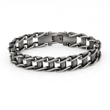 Men's Link Bracelet in Gunmetal Grey Stainless Steel