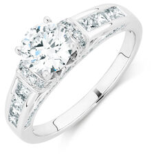 Ideal Cut Engagement Ring with 1 5/8 Carat TW of Diamonds in 14kt White Gold