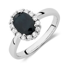 Ring with Sapphire & 1/4 Carat TW of Diamonds in 10kt White Gold