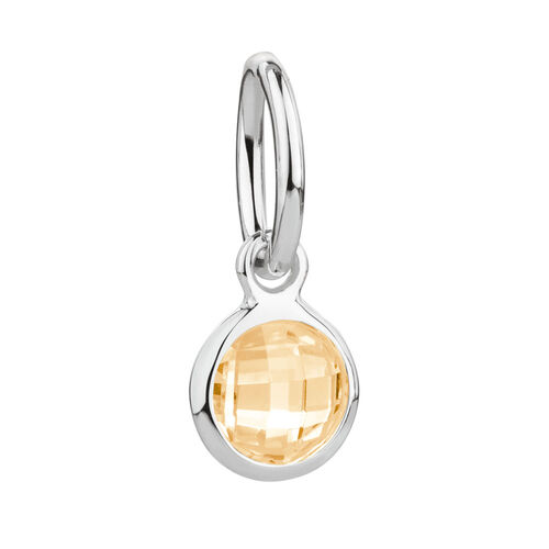 November Mini Pendant with Yellow Cubic Zirconial in Sterling Silver
