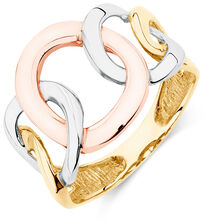 4 Circle Ring in 10kt Yellow, White, & Rose Gold