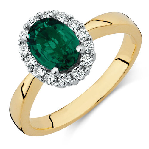 ring with created emerald 1 4 carat tw of diamonds in