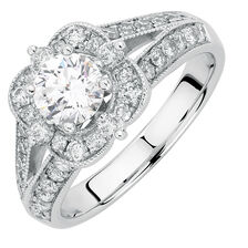 Engagement Ring with 1.45 Carat TW of Diamonds in 14kt White Gold