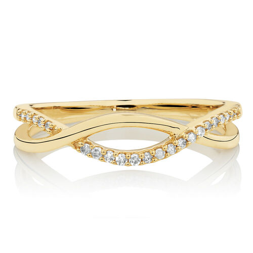 Twist Ring with Diamonds in 10ct Yellow Gold