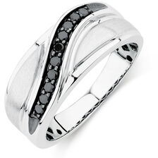 Online Exclusive - Men's Ring with 1/4 Carat TW of Enhanced Black Diamonds in 10ct White Gold
