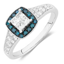 Engagement Ring with 3/4 Carat TW of White & Enhanced Blue Diamonds in 14kt White Gold