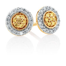 Stud Earrings with 1/4 Carat TW of Yellow & White Diamonds in 10ct Yellow Gold