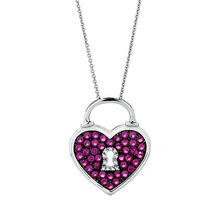 Heart Pendant with Created Rubies in Sterling Silver