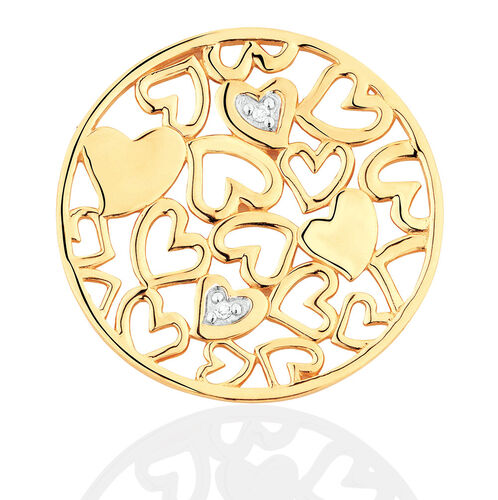 Diamond Set 10ct Yellow Gold Hearts Coin Locket Insert