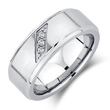 Men's Ring with Enhanced Grey Diamonds in Grey Tungsten