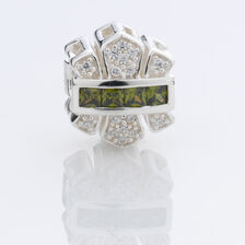 Charm with Green & White Cubic Zirconia in Sterling Silver